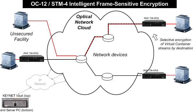 DSD 72B-SP frame-sensitive SONET/SDH encryption network